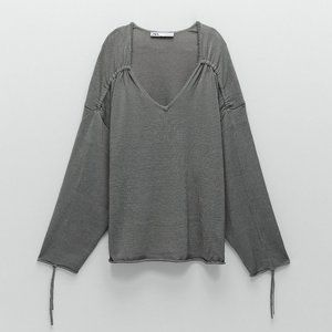 🔥MOVING SALE🔥NEW ZARA RUCHED KNIT Blouse Top S